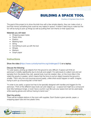 Downloadable activity screenshot of cover for Building a space tool