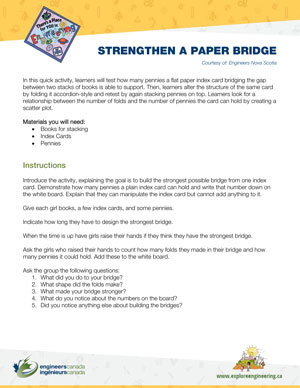 Downloadable activity screenshot of cover for Strengthen a paper bridge